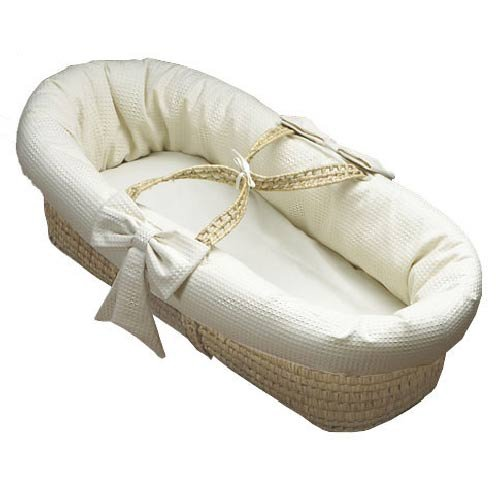 Baby Doll Bedding Pique Moses Basket, Ecru