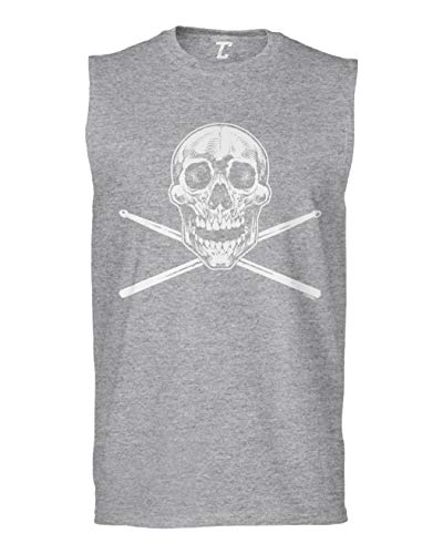 Tcombo Skull with Crossed Drumsticks - Drummer Men's Sleeveless Shirt (Light Gray, X-Large)]()