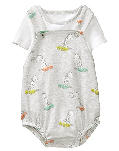 Gymboree Baby Boys Zebra Overall Set, Grey, NB