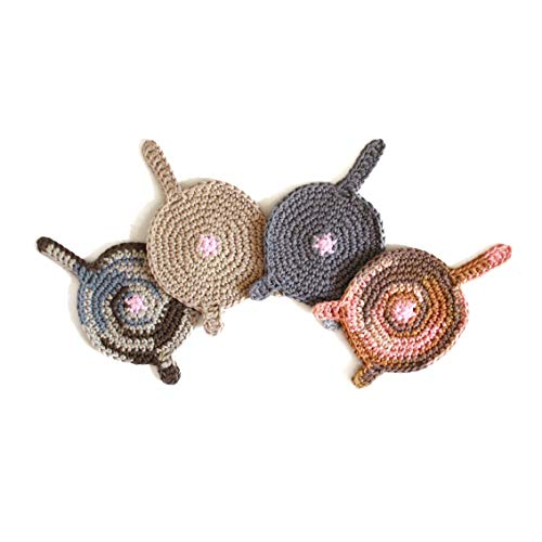 Handmade crochet cat butt coasters by Geekirumi! - Cotton yarn drink mats - Bengal, Tortoiseshell, Beige, Grey (set of 4) -