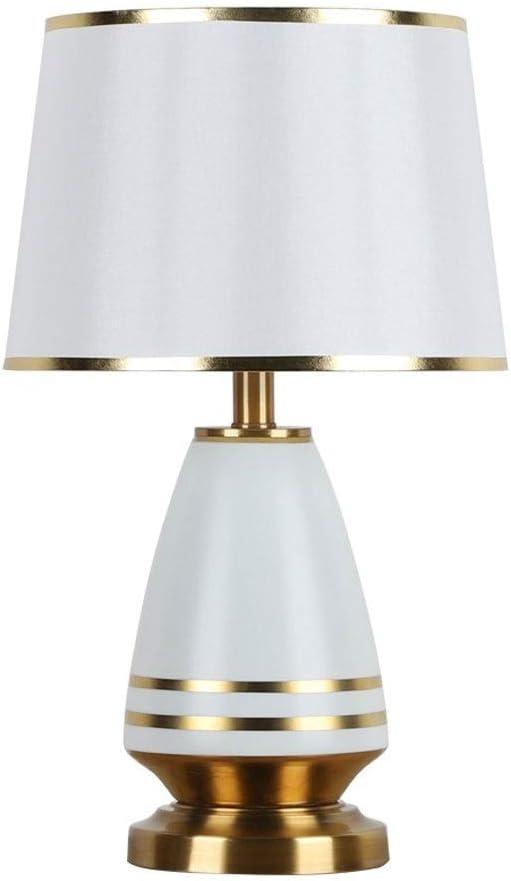 Lámpara de Mesa Cerámica y línea de la tela de oro Pantalla ...
