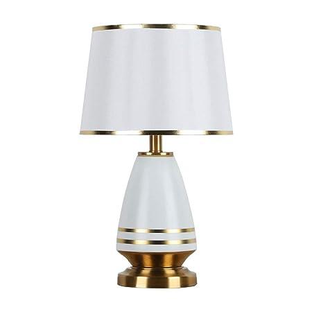 Lámpara de Tabla Cerámica y línea de la tela de oro Pantalla ...