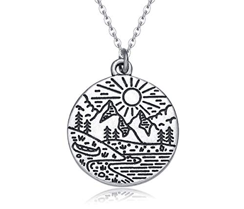 Rosa Vila Mountain Life Necklace for Women, Ideal Mountains Jewelry Gift for Nature, Adventure, and Outdoor Lovers (Silver Tone)