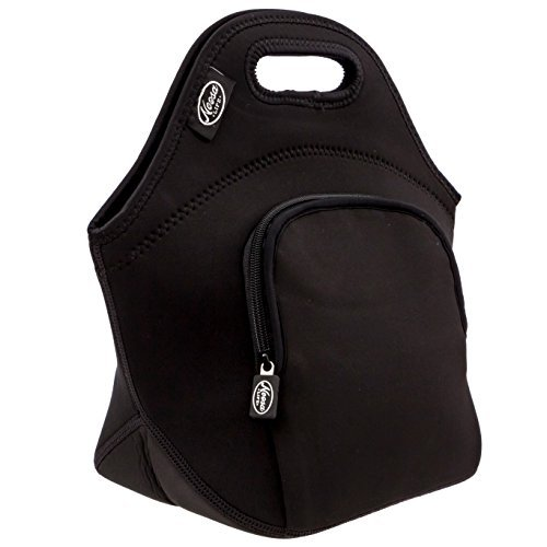 Noosa Life LARGE Neoprene Lunch Bag - Insulated Tote - Heavy Duty Zipper - Premium Stitching - 13 x 12.5 x 6.5 inches - Lunch Bag for Men Women Kids & Nurses - Best Travel Bag (Black with FrontPocket)