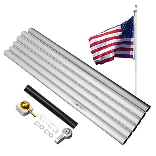 A-ONE Classic 20FT Aluminum Sectional American Flag Pole, US Outdoor Residential Flagpole Kit with Golden Ball Topper & PVC Sleeve, Silver