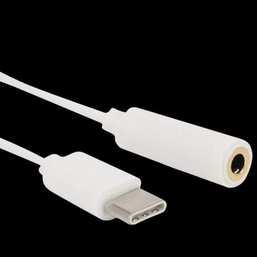 Sungpunet USB Tipo C a 3,5 mm Adaptador de Auriculares Jack AUX Cable para Letv Leeco Le MAX 2 Pro 0.15m 0.45ft Blanco Uso f/ácil