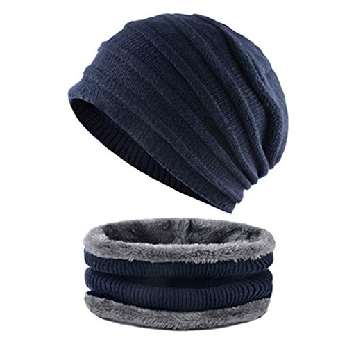 MJ-Young Hat Scarf Sets Tripe Knitted Wool Beanie Men's Thicken Warm Caps Winter Hats for Men T-BU OneSize