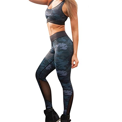 uskincare 2 Piece Women's Yoga Suits Yoga Clothing Sports Bra Leggings Sportswear (M, Blue & (Blue Camouflage Bras)