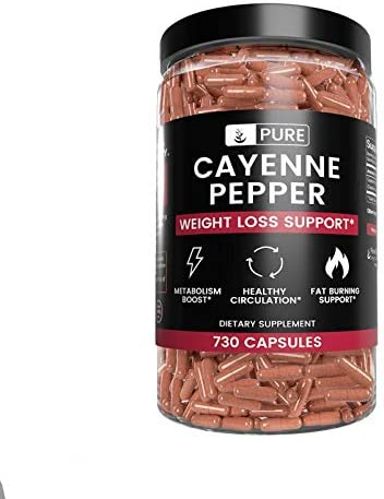 100 Pure Cayenne Pepper, 8 Month Supply, 730 Capsules, No Magnesium or Rice Filler, 40,000 SHU, Non-GMO, Gluten-Free, Made in USA, No Additives