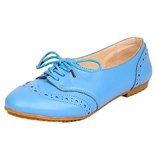 Heheja Mujer Ocio Talón Plano Verano Zapatos Encaje Comodidad Mocasines Azul