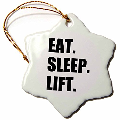 3dRose orn 180419 1 Lift Weightlifting Weight Building Snowflake Porcelain