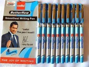Cello butterflow smooth writing fine ball pen blue X 10 pen