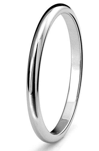 2mm Titanium Womens Plain Dome Polished Wedding Band Ring Size 7