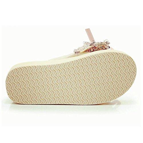 5cm 5 Chaussures cn37 5 Flops uk4 5 Eu37 Xy® Flip Sandales Flop Plage Noeud 5cm Plein couleur Air Papillon Taille En De 5 Mode Femme D'été 66wSqTg