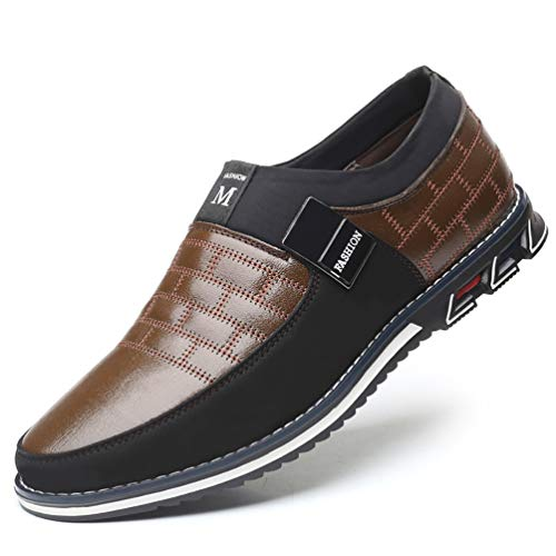 COSIDRAM Men Casual Shoes Summer Sneakers Loafers Breathable Comfort Walking Shoes Fashion Driving Shoes Luxury Black Brown Leather Shoes for Male Business Work Office Dress Outdoor (Best Shoes For Office Work)