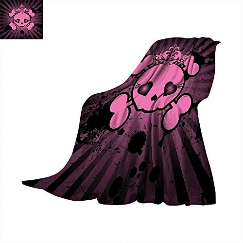 Skull Weave Pattern Extra Long Blanket Cute Skull Illustration with Crown Dark Grunge Style Teen Spooky Halloween Print Warm Microfiber All Season for Bed or Couch 50