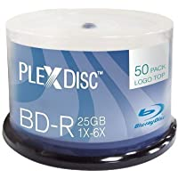 PlexDisc 633-814 25 GB 6x Blu-ray Logo Top Single Layer Recordable Disc BD-R, 50-Disc Spindle