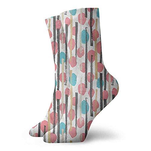 Men Multicolored Pattern Geometric Hand Drawn Stripes Hiker Boot Sock -