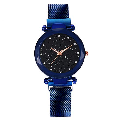 (FarJing Watch for Women, Quartz Stainless Steel Band Mesh Leather Bucket Starry Sky Analog Wrist Watch )