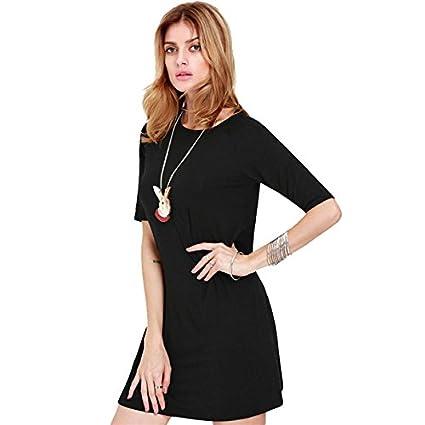 Adeby (TM) - primavera otoño vestidos 2015 vestido de las mujeres Plus tamaño XL mujeres vestidos Loose Casual vestidos de Festa mitad manga mini vestido: ...