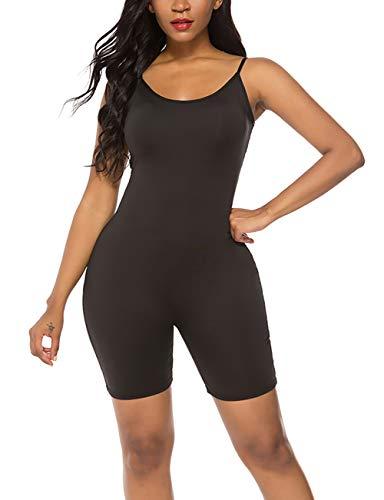 Amiliashp Women's Spaghetti Strap Tank Top Short Jumpsuit Rompers Bodysuit One Piece Catsuit Black (Body Suit Shorts With)