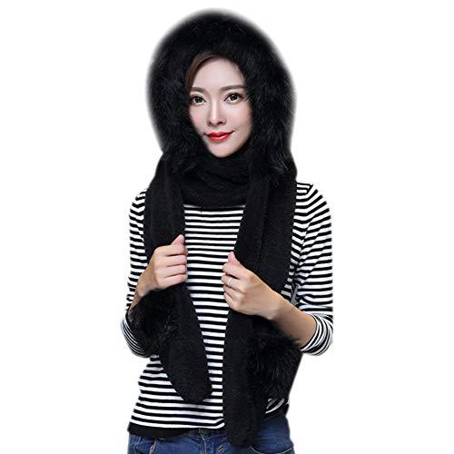 Thick Warmer Hat Gloves Scarf Pocket, Earflap Winter Long Fleece Hoodie Women 3 in 1 Set Mitten Headscarf Ear Cuff Costume Cap