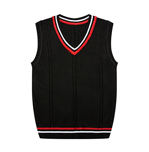 JoJo Home Men's Solid Color Cable Sweater Vest Casual Knitted Sweater Slim Fit Pullover (Large, Black) by JoJo Home