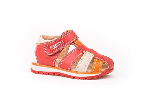 Sandalias Deportivas para Niños, Todo Piel mod.446. Calzado Infantil Made in Spain, Garantia de Calidad. Rojo