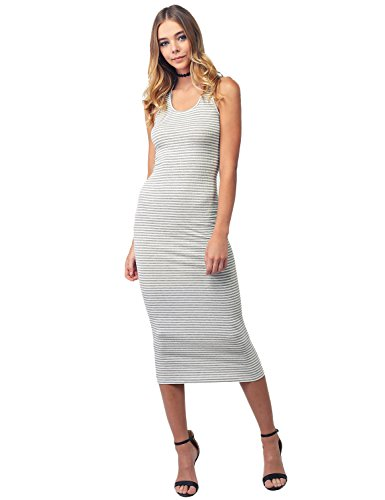 Casual Stretch Striped Caged Racerback Bodycon Midi Dress Gray White Size S