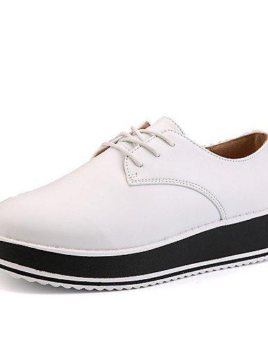 5 White 5 Comfort oxfords us8 creepers Vestido Mujer Zapatos tacón Cuña negro cuero exterior Uk6 Njx Eu39 Hug Casual De Cn40 Blanco wRZpT4q