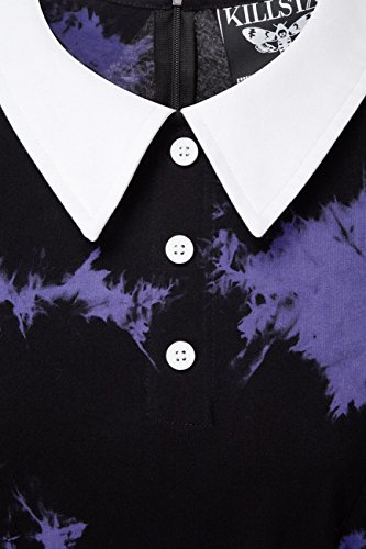 Killstar - Vestido - Efecto teñido - Manga corta - para mujer Black-Violet