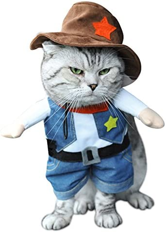 NACOCO Cowboy Dog Costume with Hat Dog Clothes Halloween Costumes for Cat and Small Dog 26