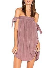 Women's Elegant Tube Off Shoulder Swing Summer Tunic Shift Mini Dress
