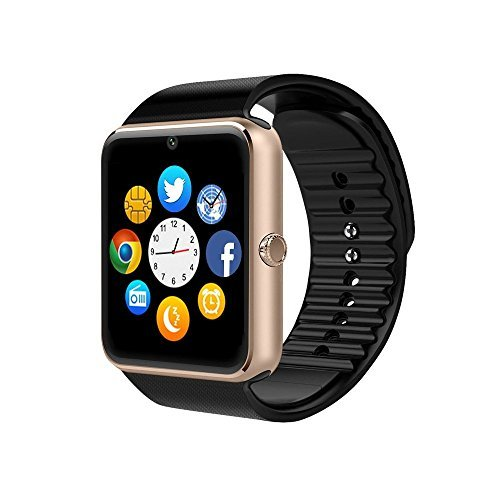 ZAOYI Smartwatch GT08 Bluetooth Smart Watch with Camera SIM Card TF/SD Card Slot Call Sync Notifier and Smart Health Watch for Iphone and Android Smartphones (Rose Gold)