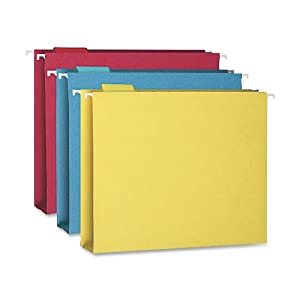 """Smead Hanging Box Bottom File Folder with Tab, 2"""" Expansion, Letter Size, Assorted Colors, 25 per Box (64264)"""