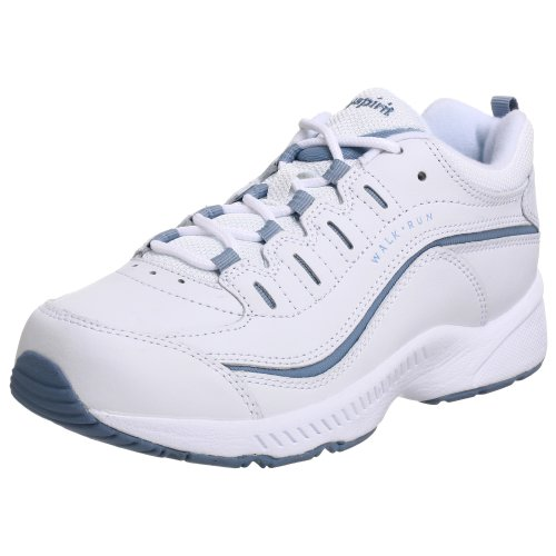 Easy Spirit Women's Romy Sneaker, White/Medium Blue Leather, 7 W US