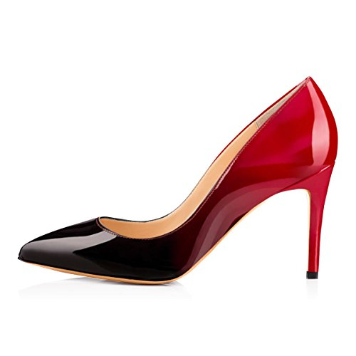 Black Dress Women and Classic heel Pumps Multicoloured Pointed Red for Toe Mid xIAP0R1nqA