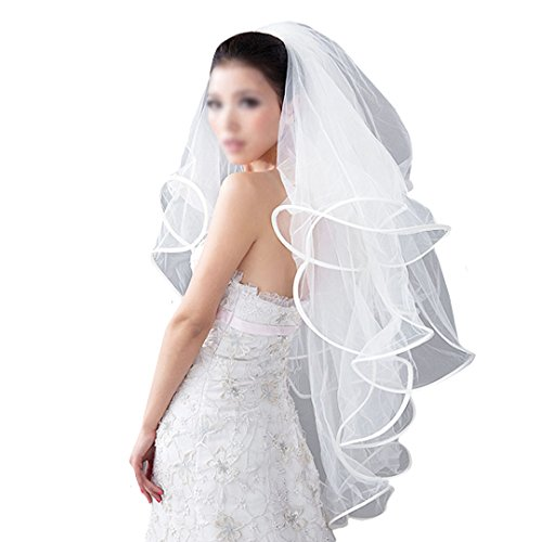 Women's Tulle Ribbon Edge Cascade Waterfall Wedding Veil with Comb White