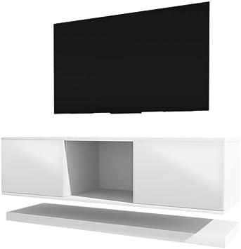 Wizz – Mesa Flotante para TV/Mueble TV Moderno (140 cm, Blanco Mate/Frentes Blancos en Brillo): Amazon.es: Electrónica