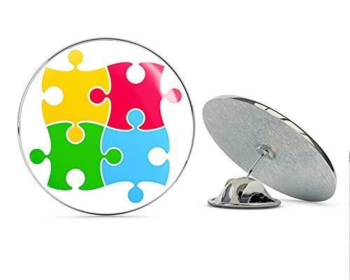 (BRK Studio Simple Colorful Kids Autism Puzzle Pieces Cartoon Art Round Metal 0.75