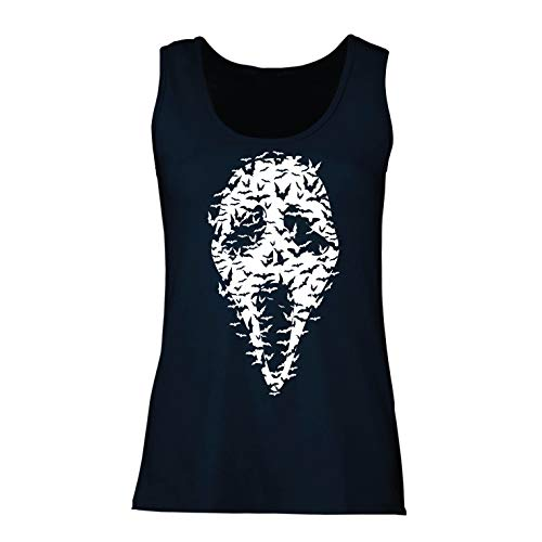 lepni.me Women's Tank Top Ghost Scary Face Bats, Halloween Party Costume (Large Blue Multi Color)