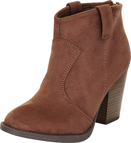 Cambridge Select Women's Country Western Stacked Chunky Heel Ankle Bootie,8 B(M) US,Mud IMSU