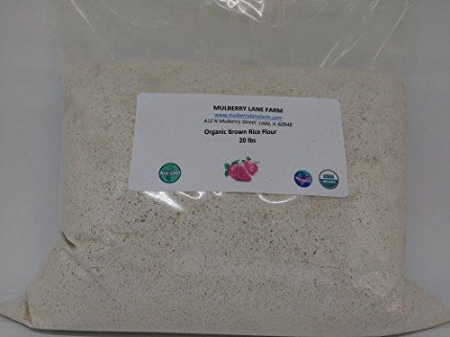 Brown Rice Flour 20 Pounds (Twenty lbs) USDA Certified Organic, Non-GMO, BULK by Mulberry Lane Farms