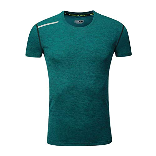 KINGOL Men Summer Casual Fashion O-Neck T-Shirt Fitness Sport Fast-Dry Breathable Top Blouse -