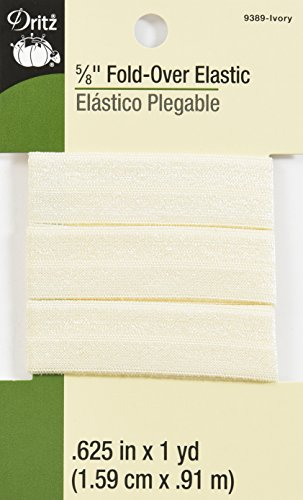 Dritz 9389 Fold-Over Woven Elastic, 5/8-Inch x 1-Yard, Ivory