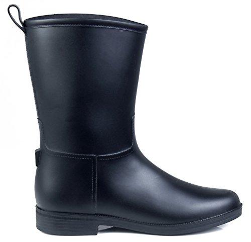 AgeeMi Shoes Unisex Adult Slip on Waterproof Low Heels Rubber Rain Boots F6bAVV