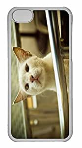 iPhone 5C Case, Personalized Custom White Cat Smelling Air for iPhone 5C PC Clear Case