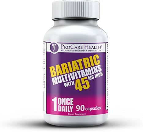 Bariatric Once-A-Day Multivitamin 90 Ct Capsule-45mg Iron Made for Gastric Bypass Sleeve WLS Surgery