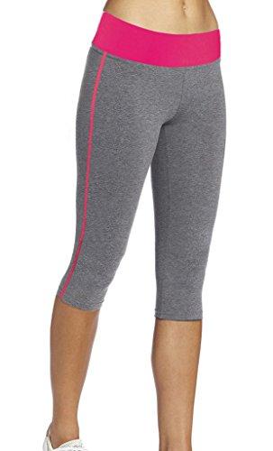iLoveSIA Women's Tight Capri Yoga Workout Legging US Size L Grey+Rose Red