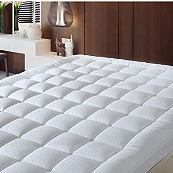 BALICHUN Pillowtop Cal King Mattress Pad Cover 300TC 100% Cotton Down Alternative Filled Mattress Topper with 8-21-Inch Deep Pocket (White, Cal King)